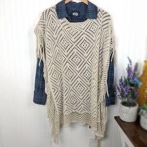 Plus Cream Crochet and Fringe Poncho Wrap